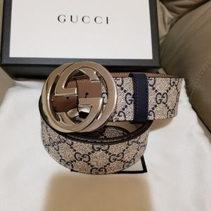 Gucci belt blue monogram